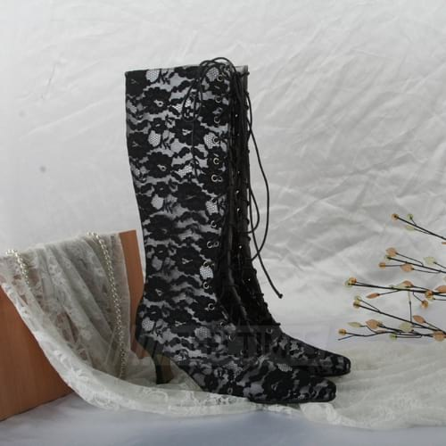 Women's Lace Knee High Boots Boots Special Occasion Shoes