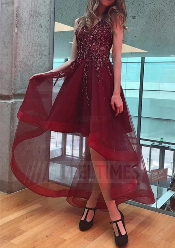 A-line/Princess Sleeveless Asymmetrical Tulle Prom Dress With Beading