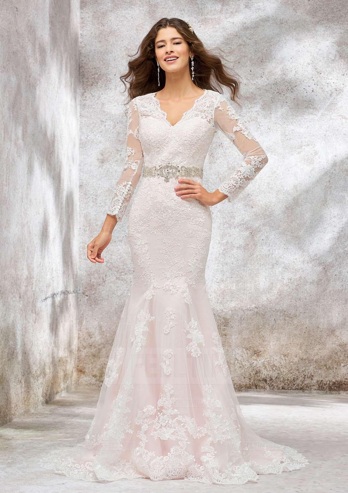 Trumpet/Mermaid Full/Long Sleeve Court Train Lace/Satin Wedding Dress With Beading