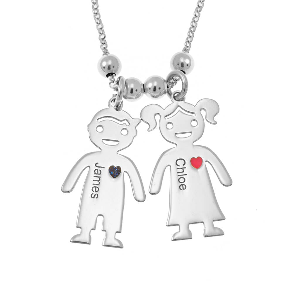 Children Engraved Necklaces Gift For Mother's Day