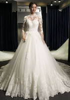 Ball Gown High-Neck Sleeves Chapel Train Tulle Wedding Dress With Appliqued Lace