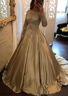 Ball Gown Off-The-Shoulder Full/Long Sleeve Court Train Charmeuse Prom Dress With Appliqued