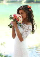Trumpet/Mermaid Off-The-Shoulder Half Sleeve Court Train Lace Wedding Dress With Appliqued