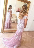 Trumpet/Mermaid Off-The-Shoulder Sleeveless Sweep Train Tulle Prom Dress With Lace Appliqued