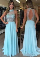 A-Line/Princess High-Neck Sleeveless Sweep Train Chiffon Prom Dress With Sequins Crystal Lace