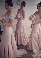 Trumpet/Mermaid Off-The-Shoulder Sleeveless Watteau Train Satin Bridesmaid Dress Beading