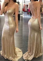 Trumpet/Mermaid Sweetheart Sleeveless Sweep Train Sequined Prom Dress
