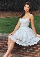 A-line/Princess Sleeveless Short/Mini Lace Prom Dress