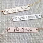 Actual Handwriting Necklace Drawing Bar Necklace Personalized