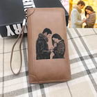 Personalized Engraved Sketch Photo Women's Brown Leather Wallet