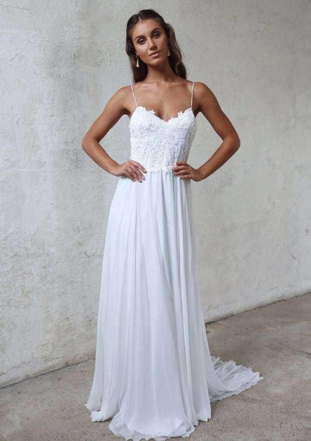 A-Line/Princess Sweetheart Sleeveless Sweep Train Chiffon Wedding Dress With Lace