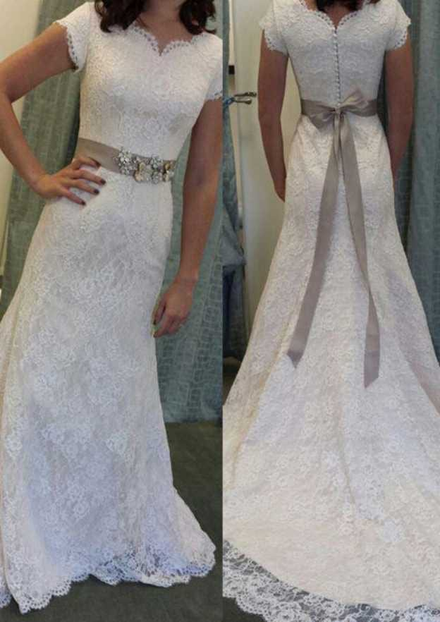 Sheath/Column Scalloped Neck Short Sleeve Court Train Lace Wedding Dress With Waistband