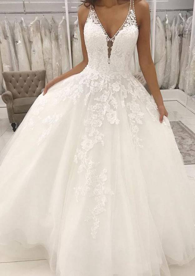A-Line/Princess V Neck Sleeveless Long/Floor-Length Tulle Wedding Dresse With Appliqued