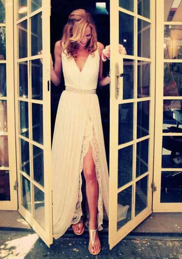 A-Line/Princess V Neck Sleeveless Sweep Train Chiffon Wedding Dress With Lace Waistband Split