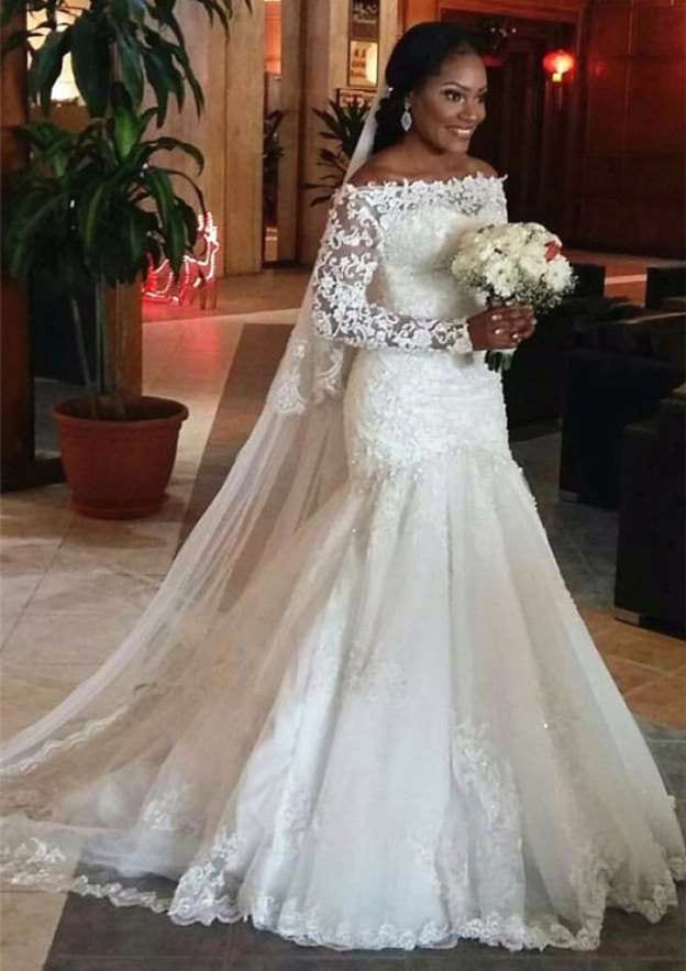 Sheath/Column Off-The-Shoulder Full/Long Sleeve Long/Floor-Length Wedding Dress With Appliqued
