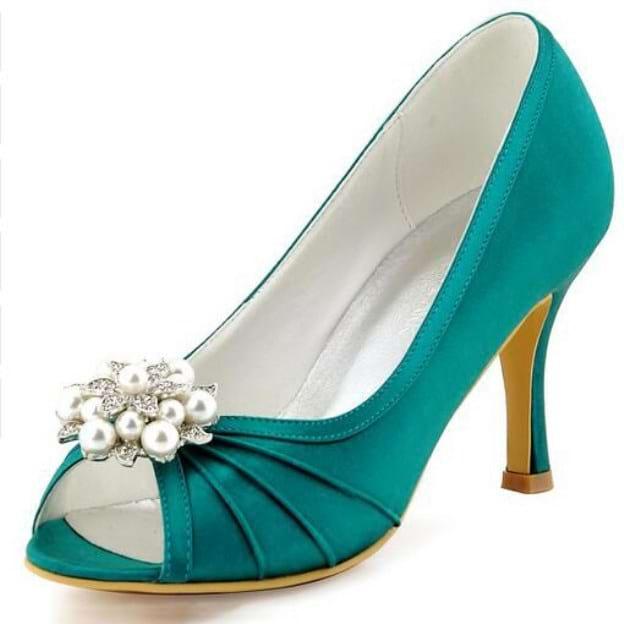 Peep Toe Pumps Spool Heel Satin Wedding Shoes With Imitation Pearl Rhinestone