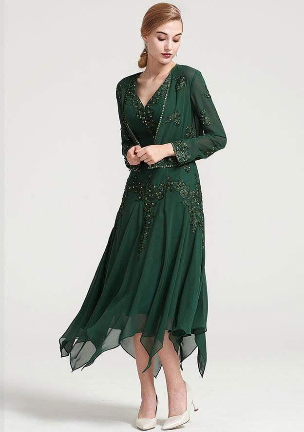 Full/Long Sleeve Waist Length Chiffon Jacket With Appliqued Beading