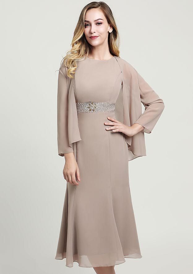 Sheath/Column Bateau Sleeveless Tea-Length Chiffon Mother of the Bride Dress With Beading Jacket