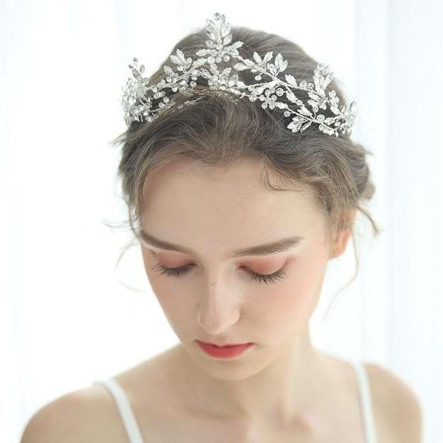 Ladies Crystal/Rhinestone With Flower/Rhinestone/Crystal Tiaras