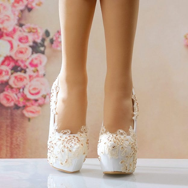 Women's PU With Lace Close Toe Heels Pumps Wedding Shoes