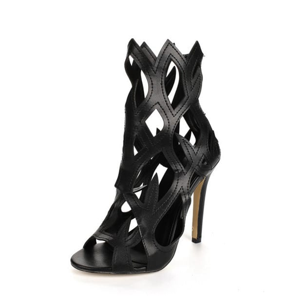 Women's PU With Zipper/Hollow-out Heels Peep Toe Fashion Shoes