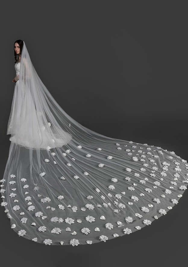 One-tier Tulle Cathedral Bridal Veils With Flower