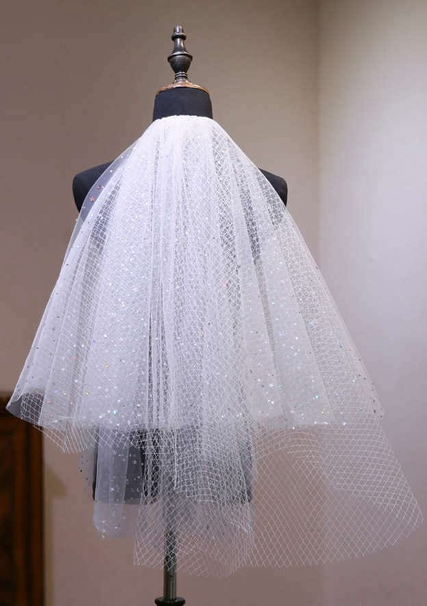 Three-tier Net Elbow Bridal Veils With Sparkling Glitter