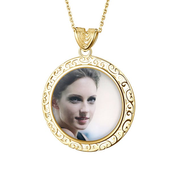 Personalized Customized S925 Sliver Photo Circle Necklaces