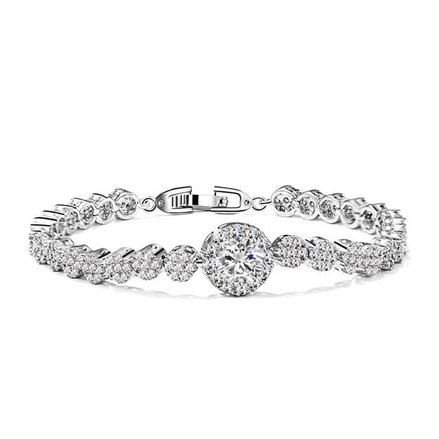 Women's Attractive Silver Bracelets With Cubic Zirconia For Bride