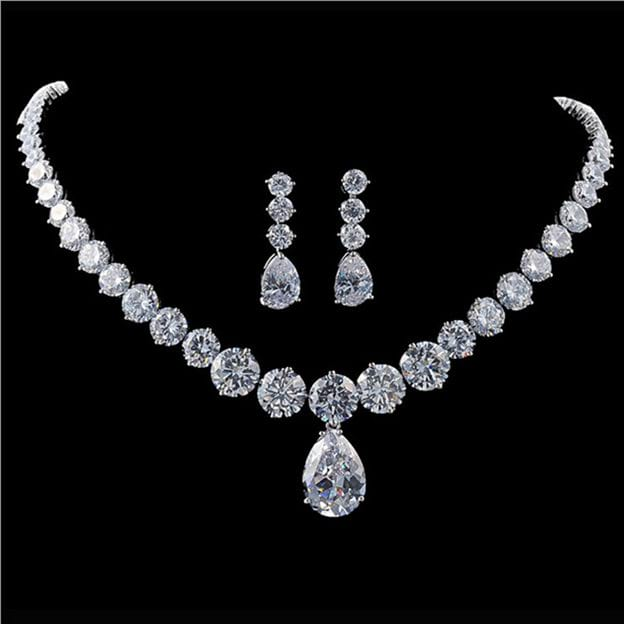 Women's Elegant Silver Jewelry Sets With Cubic Zirconia For Bride