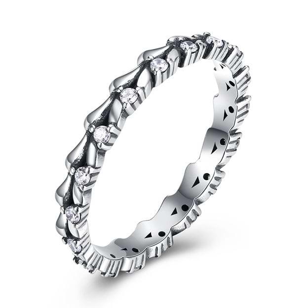 Women's Elegant 925 Sterling Silver Rings With Rhinestone