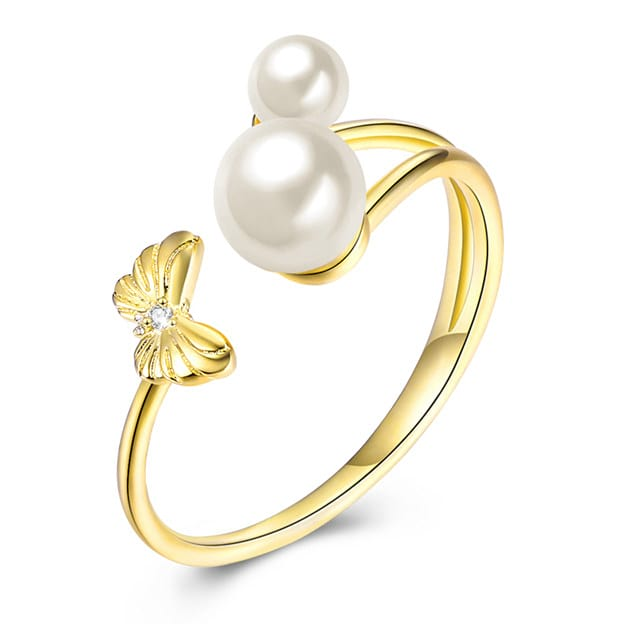 Women's Shining 925 Sterling Silver Rings With Imitation Pearls/Rhinestone