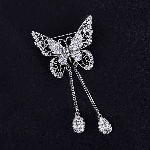 Women's Stylish Silver Brooches With Cubic Zirconia