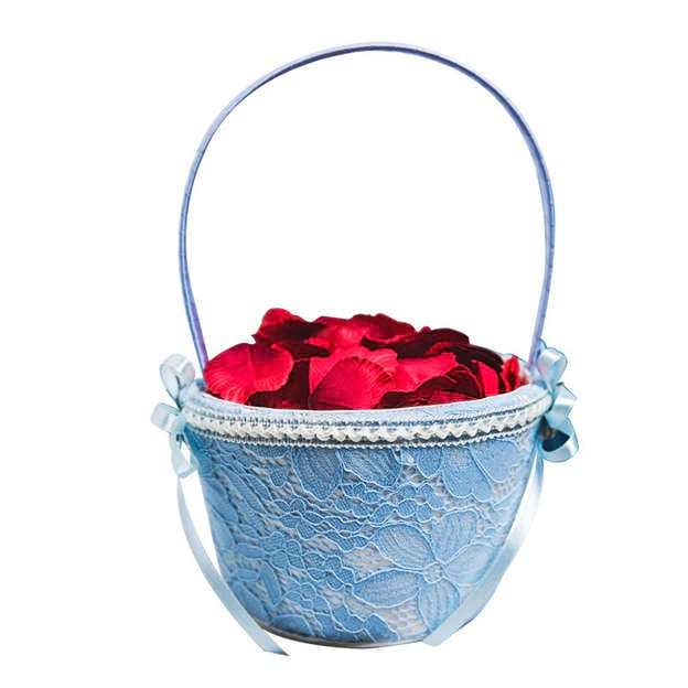 Romantic Flower Basket in Lace With Rhinestones