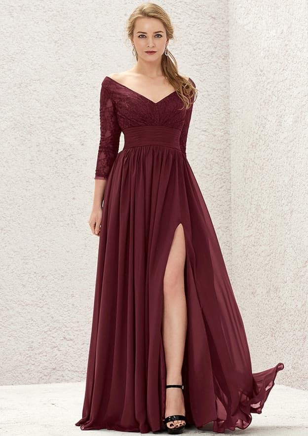 A-line/Princess Full/Long Sleeve Long/Floor-Length Chiffon Bridesmaid Dress With Lace/Pleated/Split