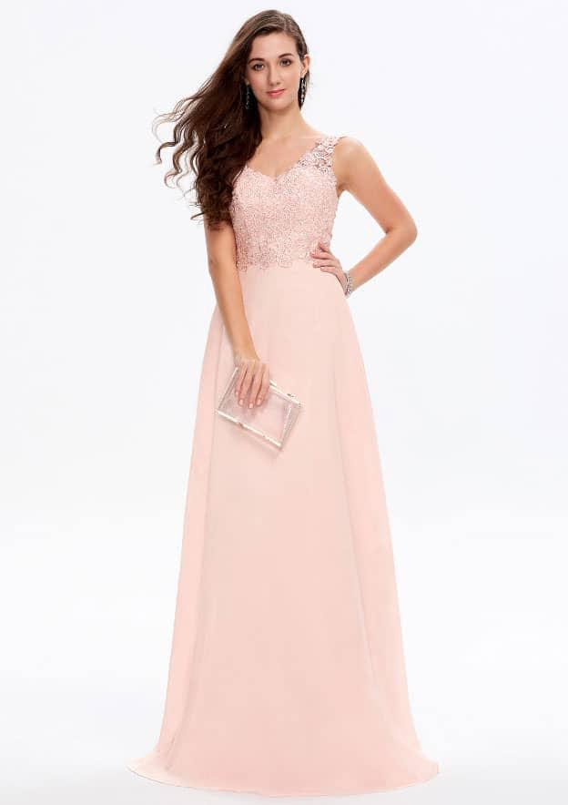 A-line/Princess Sleeveless Long/Floor-Length Chiffon Prom Dress With Lace