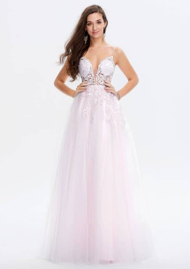A-line/Princess Sleeveless Long/Floor-Length Lace/Tulle Prom Dress