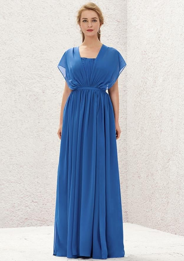 A-line/Princess Long/Floor-Length Chiffon Convertible Bridesmaid Dress With Pleated