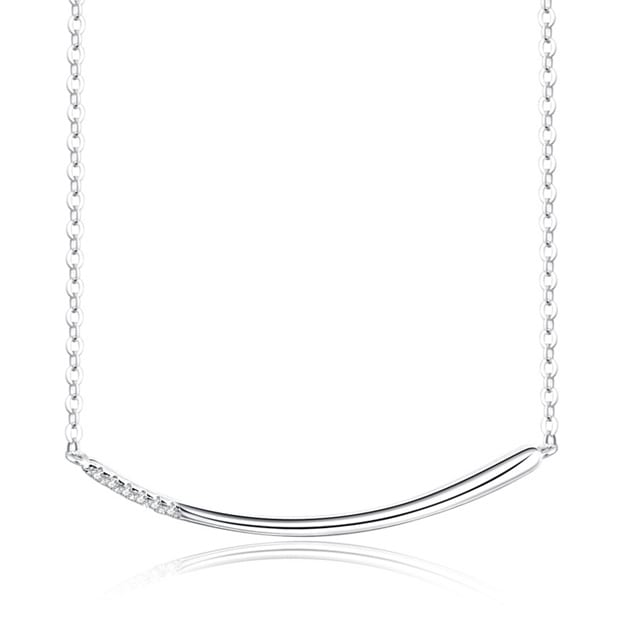 Women's Nice Silver Necklace With Cubic Zirconia