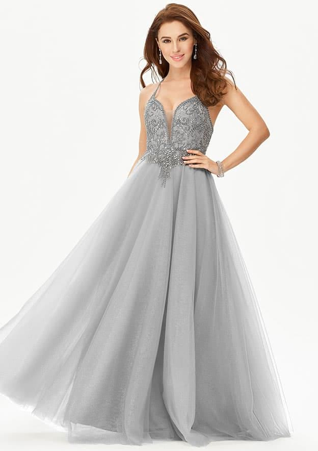 A-line/Princess Sleeveless Long/Floor-Length Glimmering Tulle Prom Dress With Glitter Rhinestone Beading