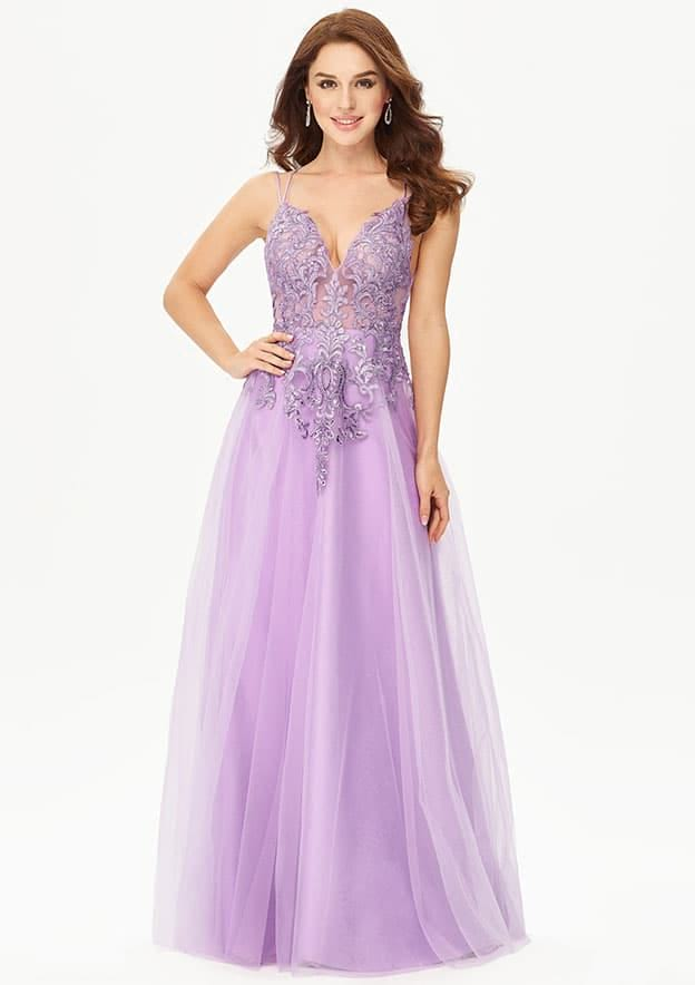 A-line/Princess Sleeveless Long/Floor-Length Glittering Tulle Prom Dress With Glitter Sequins Appliqued