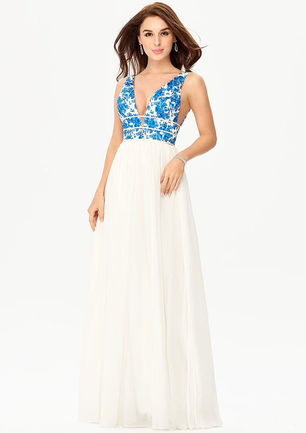 A-line/Princess V Neck Sleeveless Long/Floor-Length Chiffon Prom Dress
