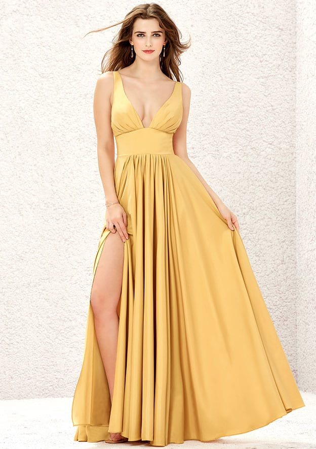 A-line/Princess Long/Floor-Length V Neck Sleeveless Charmeuse Prom Dress With Split