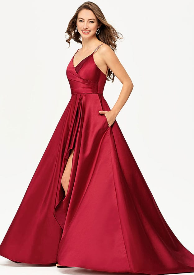A-line/Princess Sleeveless Asymmetrical Satin Prom Dress With Pleated