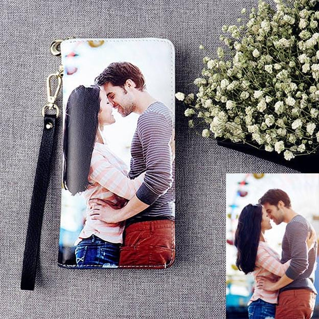 Personalized Top-grain Leather Photo Wallet for Woman