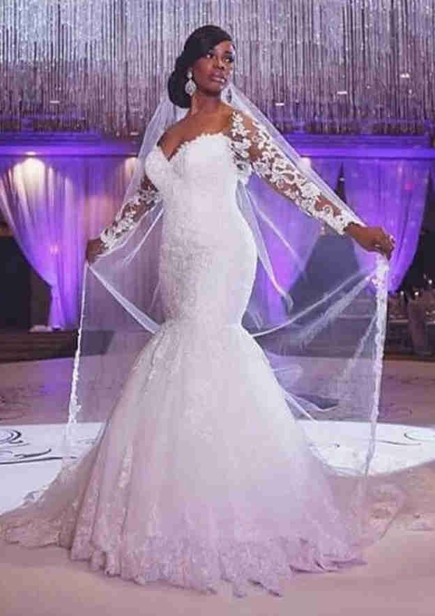 Trumpet/Mermaid Full/Long Sleeve Sweep Train Lace Wedding Dress With Appliqued