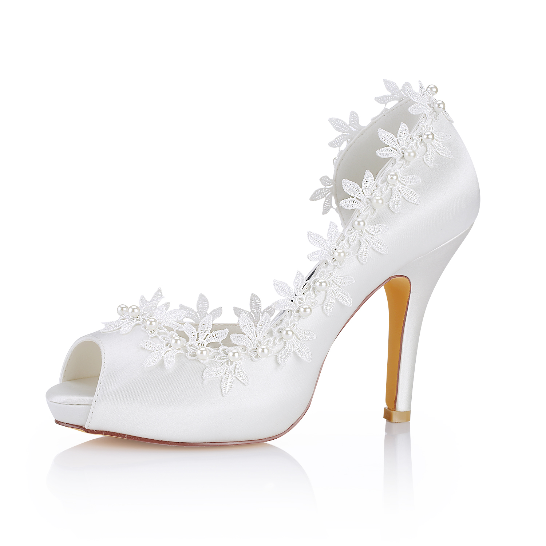 Women's Satin With Appliqued Imitation Pearl Heels Peep Toe Wedding Shoes
