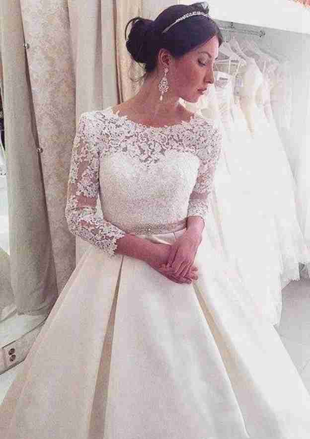 Ball Gown Bateau 3/4 Sleeve Court Train Lace Wedding Dress With Waistband