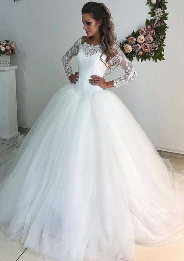Ball Gown Off-The-Shoulder 3/4 Sleeve Sweep Train Tulle Wedding Dress With Lace