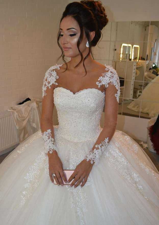 Ball Gown Bateau Full/Long Sleeve Court Train Tulle Wedding Dress With Appliqued Beading